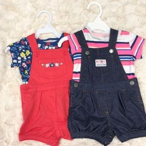 2 baby girl overall outfits NWOT